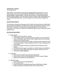 Administrative Assistant Job Description Rmc Health